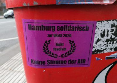 Hamburk solidární ve volbách 2020. Bojuj proti fašismu. Žádný hlas pro AfD.